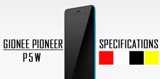 Gionee Pioneer P5W Specifications