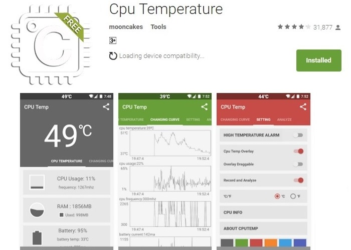 check cpu temperature for free using CPU TEMP android app