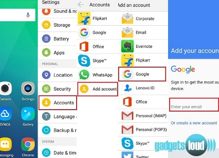 Add Google account to android device