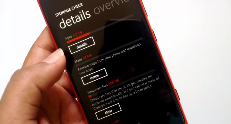 clear temporary files or cached data in windows smartphone
