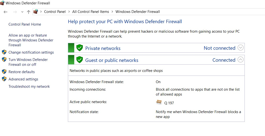 Control Panel Windows 10 Firewall