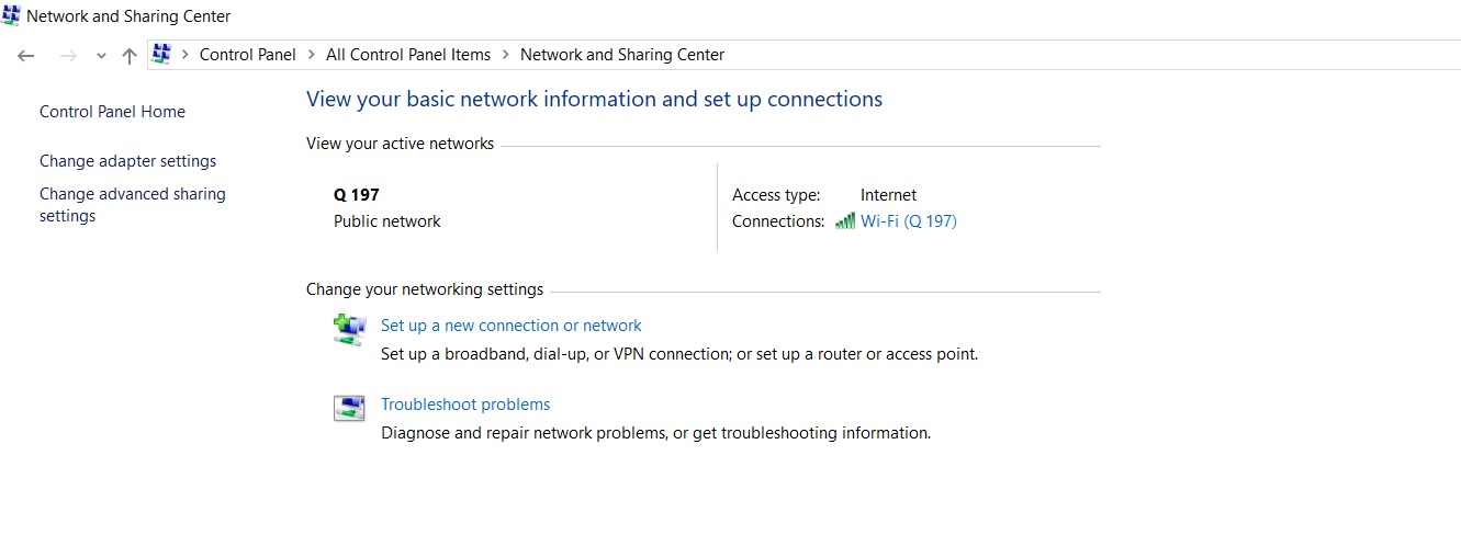 Control Panel Windows 10 Network