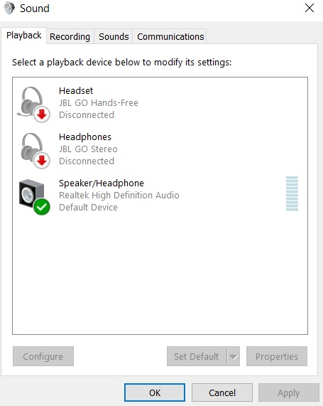 Control Panel Windows 10 Sound