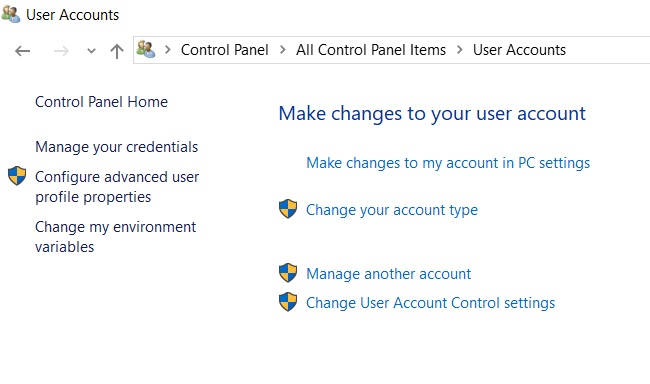 Control Panel Windows 10 User Account